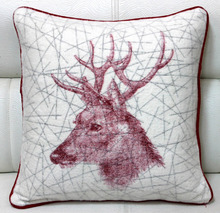 Stag Head Line Art Printed Soft Feel Cotton Throw Cushion - 45 Cm. Sq.