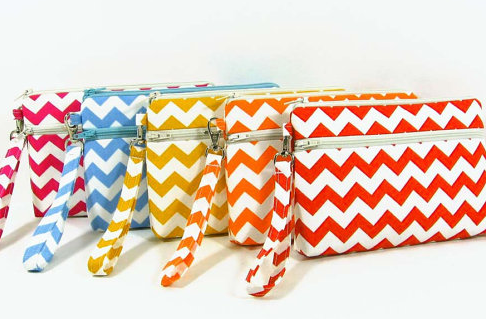 Chevron phone purse, cell phone wristlet , credit card wallet, makeup bag, zipper pouch