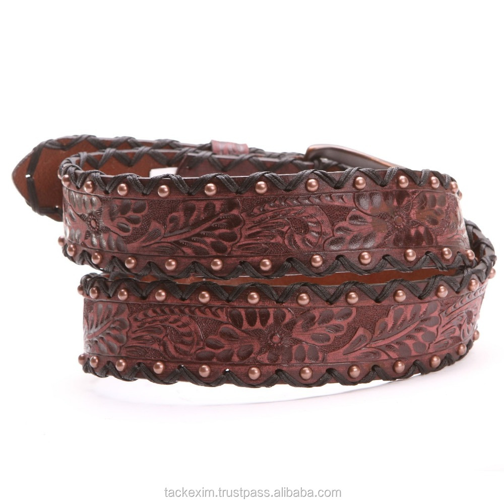 Mens Tooled Floral and Studded High Quality Leather Belt