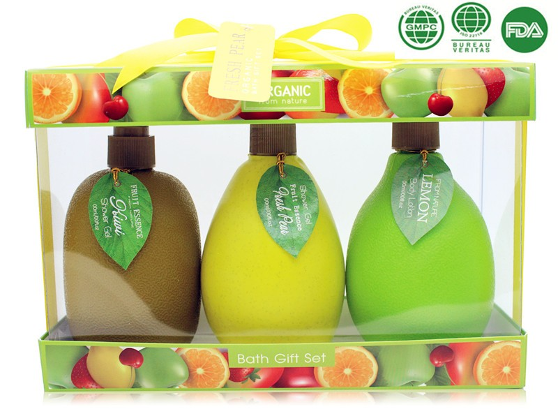 OEM/ODM Walmart Factory bath gift set with vivid fruit shape in Wire Basket