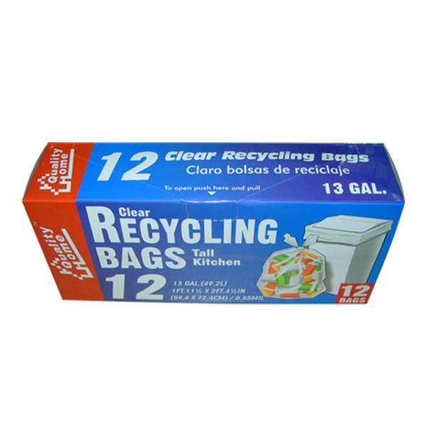 Garbage Bag Box Clear Recycle 13G 12CT