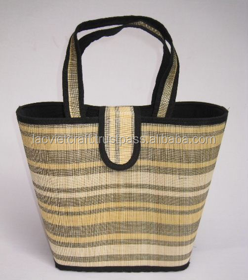 High quality best selling bamboo handbag with cloth and zipper from vietnam