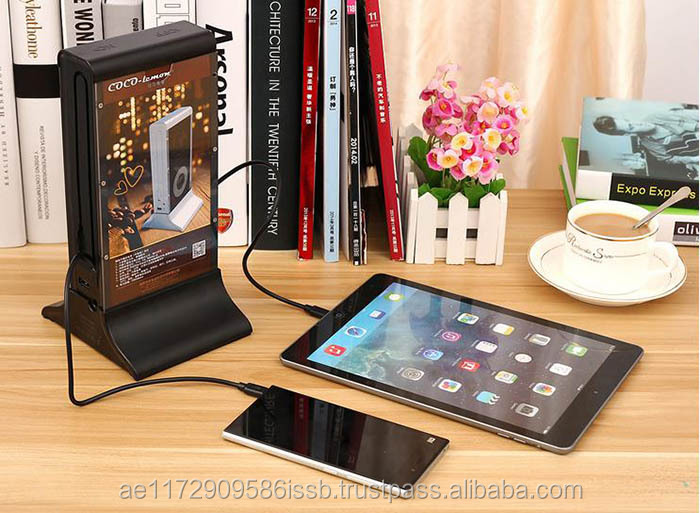 Electric type portable 20800mAh 4 ports restaurant cell phone charging station with built in micro and i phone 5 cable