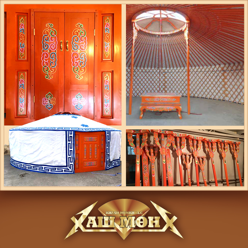 Mongolian traditional painted wooden yurt