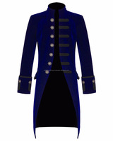 Mens Gothic Long Blue Velvet coat with Steampunk Vampire Goth