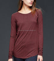 COTTON/MODAL KNITTED WOMENS LONG SLEEVE T SHIRT