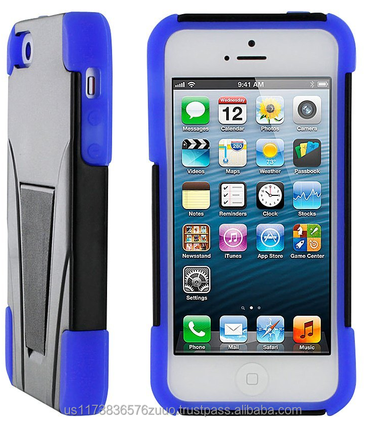 Hybrid protective soft silicone w/ polycarbonate hard shell w/ kickstand, Impact protection for iPhone 5s / 5 roocase (Blue)