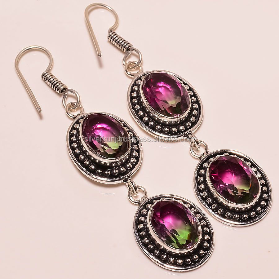 handmade artisan designer 925 silver earrings jewelry with watermelon tourmaline