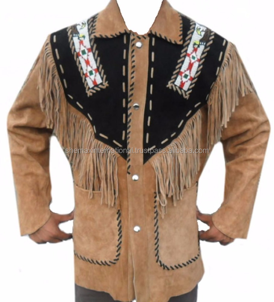Western Leather Jacket Brown with Black Patch Fringed & Beads