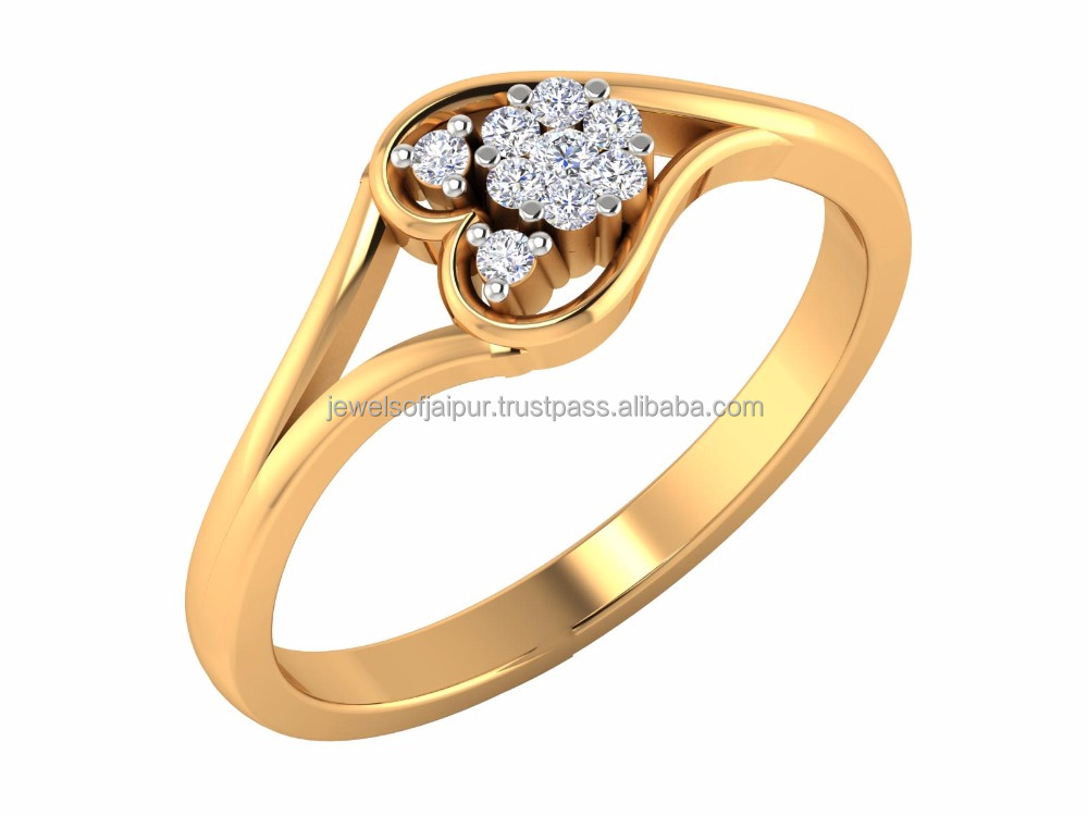 14kt Yellow Hallmark Gold Certified Natural Diamond Heart Cluster Womans Ring