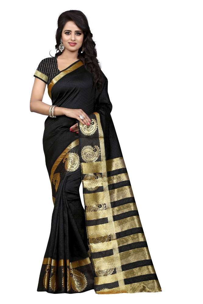H D Fashion THE Self Design Cotton Silk MEHANDI Color Saree For Women With Blouse Piece