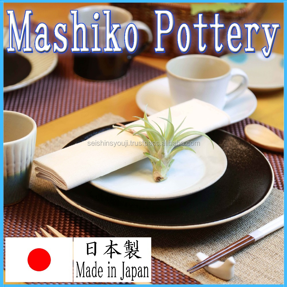 Stylish design Japanese ceramic dinner plates made by craftsman