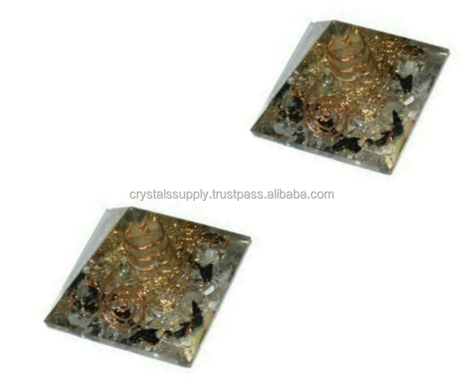 Crystal & Black Tourmaline Orgone Pyramid With Crystal Point : Wholesale Orgone Pyramids : Wholesale Orgonite New Products