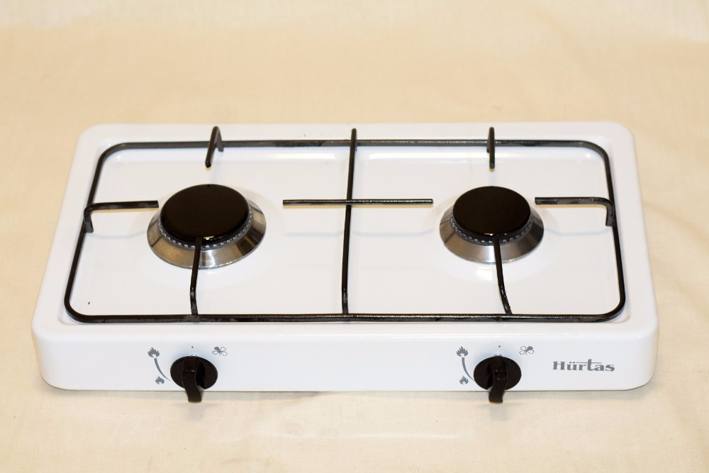 3034 - 2 BURNER GAS COOKER ENAMEL PLATE COUNTER TOP HOB