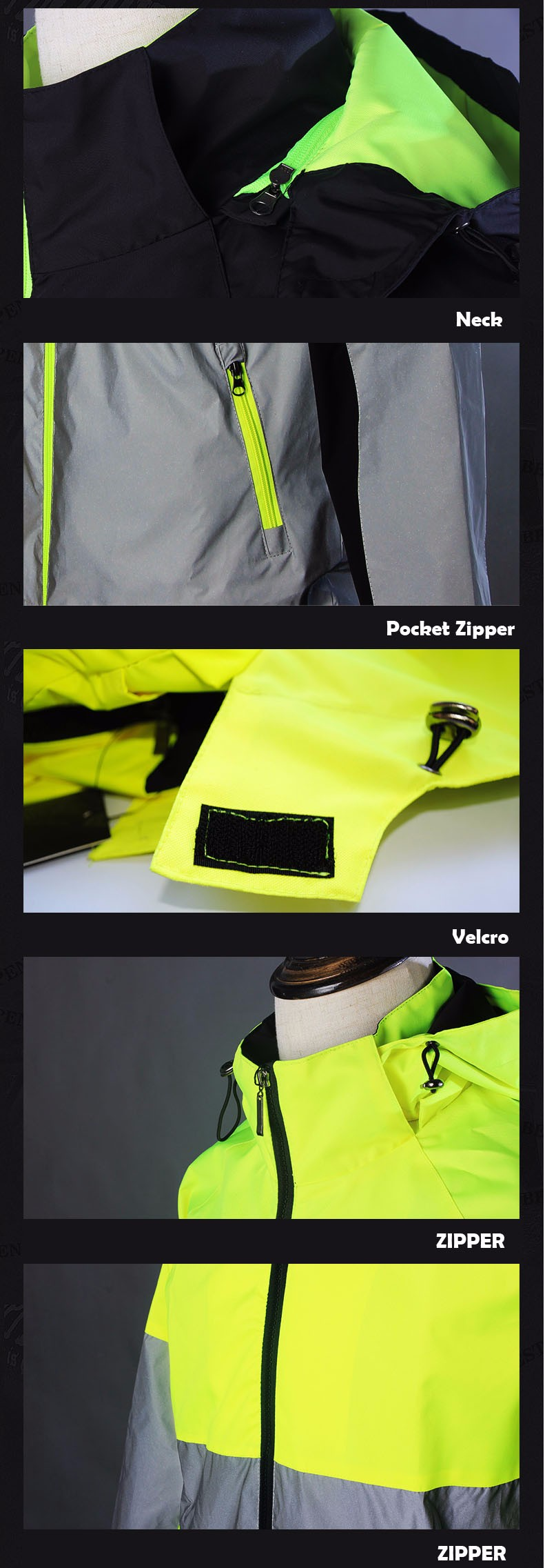 Wholesales 100% polyster Black Grey Style Reflective Safety Zip up Jacket
