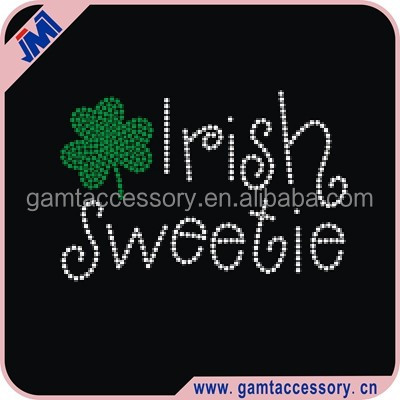 Irish sweetie with shamrock iron on rhinestone transfer for tshirt