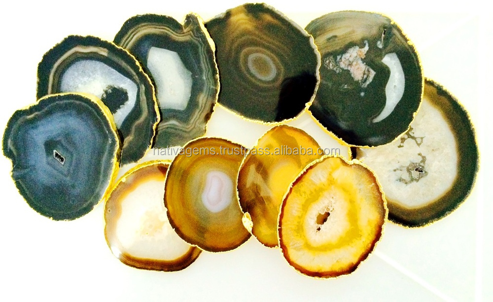 AGATE COASTER WITH GOLD RIM