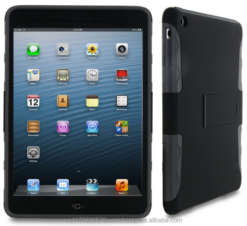 Extreme Hybrid TPU Shell Case flex hard silicone with black clip-on matte shell case for iPad Mini roocase (Gray)