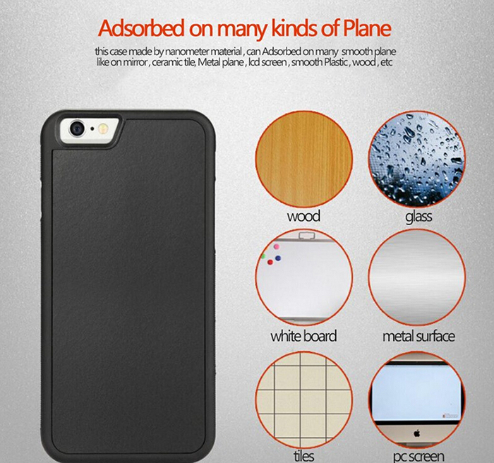 Creative Nano Suction Tech Self Sticky Anti Gravity Cell Phone Case Cover Shell For Iphone 6 6s 5 5S Samsung S6 S7 Edge