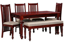Natural polished four chairs one bench wooden dining table