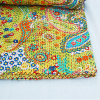 NCOKG-13 Twin/King/Queen Hippie Bedding Bedspread Cotton Paisley print kantha gudari Reversible Kantha Gudri Jaipur Art Quilts