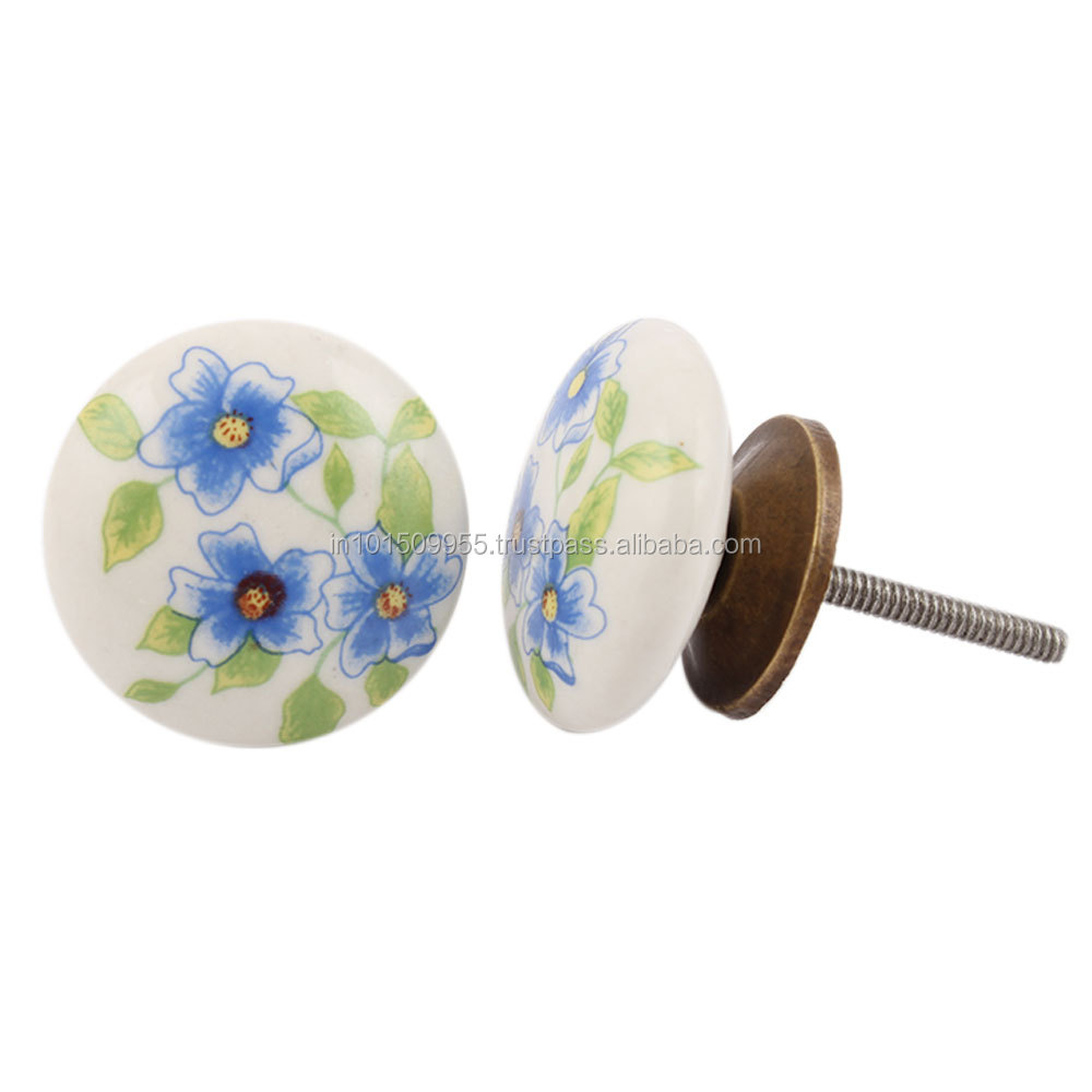 Blue Poppy Flower Flat Furniture Handles Porcelain Door Drawer Knobs Made in India CK-1092