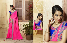 indian women in saree without blouse/heavy lacha lehenga style saree/fancy saree blouse designs
