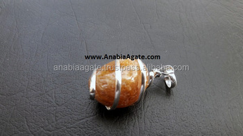 yellow Aventurine tumble Wire Wrapped Gemstone Pendant : Silver Wrapped Pendant : Agate Pendant
