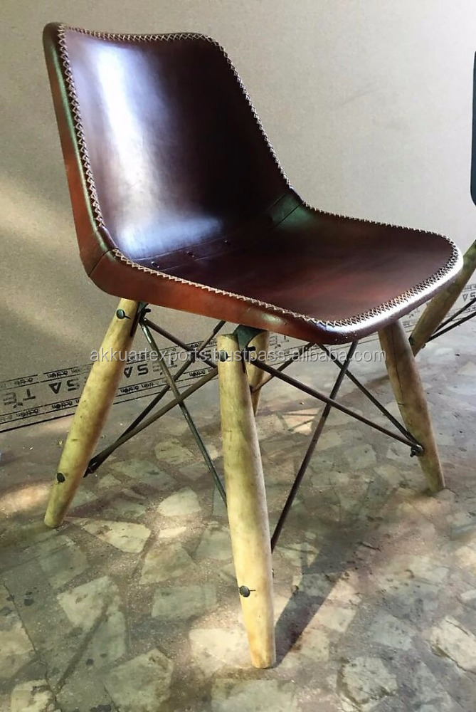 India Industrial Dining Chair , Leather Dining Chair