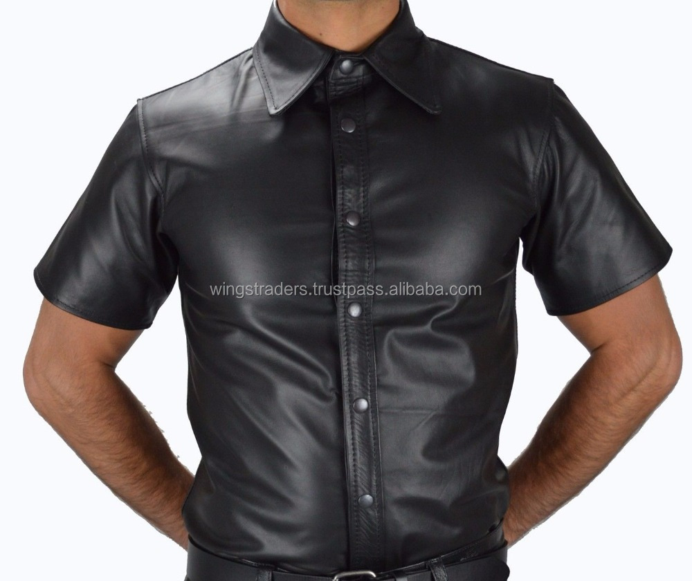 New Arrival Latest Design Short Body Fashion Short Sleeve Men's Leather Shirt