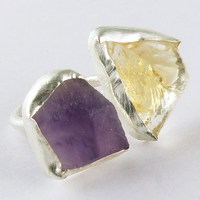 Online Sale !! Citrine_Amethyst 925 Sterling Silver Fancy Shape Ring, Jewelry For All Occassions, 925 Rough Stone Rings