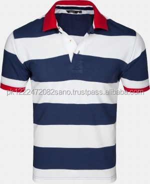 Blue and white Stripe Polo T Shirt with red Collar and Cuff Design