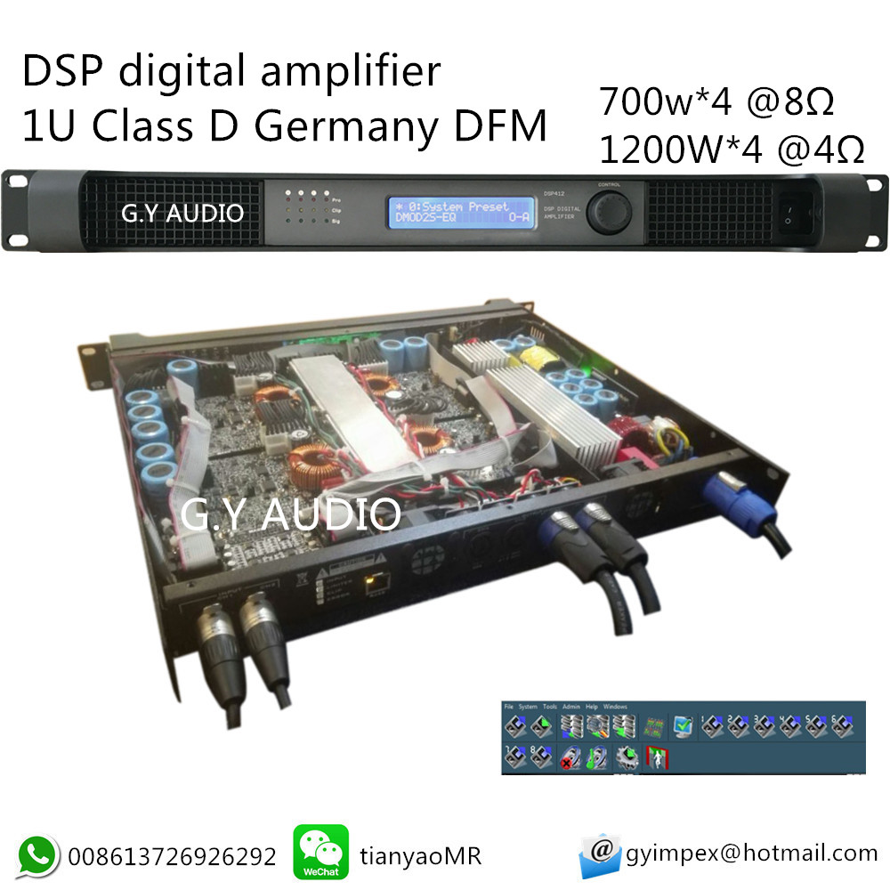 4 channels 1U dsp professional superior quality sound power amplifier/extreme power amplifier/audio power amplifier