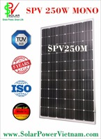 SPV 250w Monocrystalline Solar Panel with tempered glass for grid-tie solar system certificated by ISO 9001 - 2008