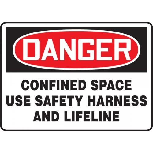 "Accuform MCSP170VP, 14"" x 20"" Plastic Sign: ""Confined Space Use Safety Harness..."""