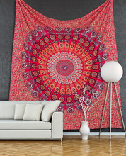 "Red Mandala Tapestry Indian Wholesale Cotton Fabric Wall Hanging Hippie Decor Boho Flower Gypsy Bedsheet 85"" Queen Wall Tapestry"