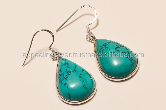 2017 New collection of sterling silver jewelry with turquoise gemstone beautiful earring