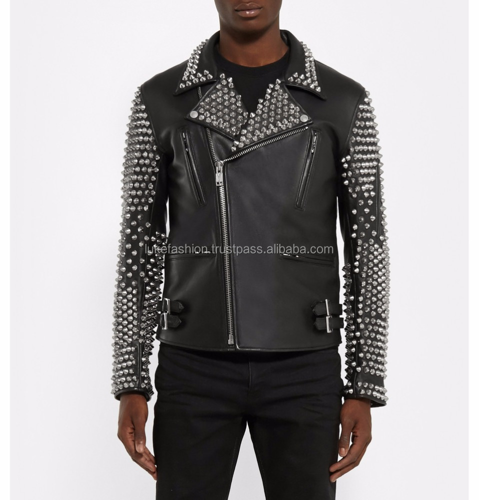 LUKE APPARELS- Men italy style first genuine pure leather biker studded leather jacket for men