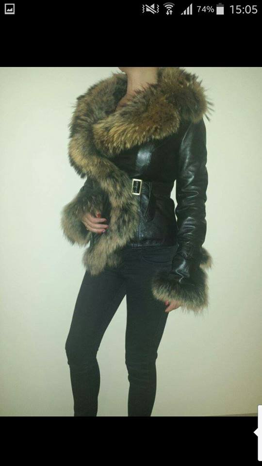 100% real natural leather jacket y real natural fox fur