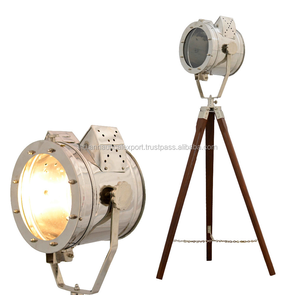 Nautical Lighting Wooden Tripod Floor Lamp Wooden Tripod Stand Home Corner lamp With Brown Tripod