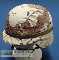 US Army Issue GI Kevlar Helmet 6 Colour Desert (Chocolate Chip) Camo Cover - Unissued