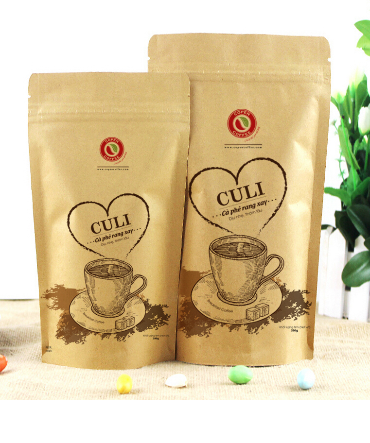 Hot Stamping Color Coffee Bag with Zipper and Valve