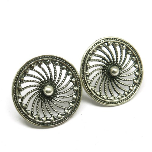 Alloy Wheel Shape Oxidized Black Silver 925 Sterling Silver Earring, Silver Jewelry Wholesaler, Silver Jewelry Manufacturer