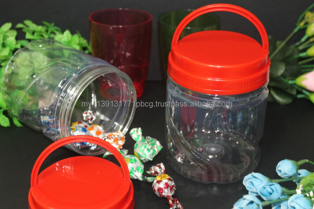Wedding favors candy plastic jars with screw top lids 800ml, cheap presering grip jars Malaysia. WHOLESALE PLASTIC CANDY JARS!