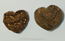 Gold Coated Chalcedony Druzy Heart for Jewelry, Gold Coated Druzy Heart Loose Gem Stone