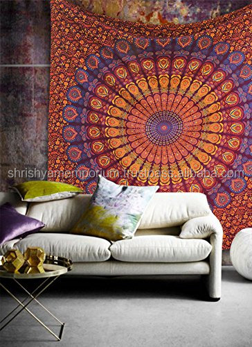 Tapestries Indian Wholesale Tapestry Wall Hanging 100% Cotton Bedspread Hippie India Printed Mandala Throw Decor Wall Tapestry