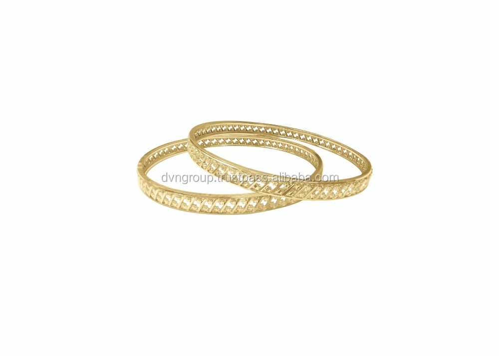 Gold Plated Fancy Diamond Cut 6.5 mm Bangles