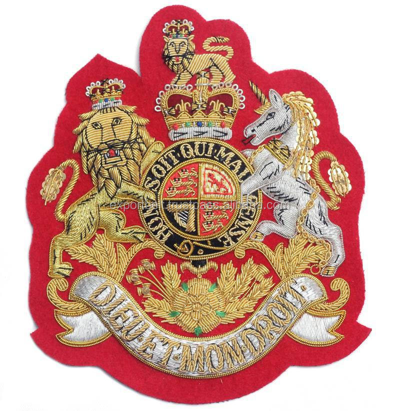 Hand Embroidered Gold / Silver / Antique Bullion Blazer Badge, Crest, Insignia, Patch, Logo, emblem, EBC Hand Embroidery Badges