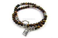 High polished Tiger eye beads and sterling silver 925 double bracelet