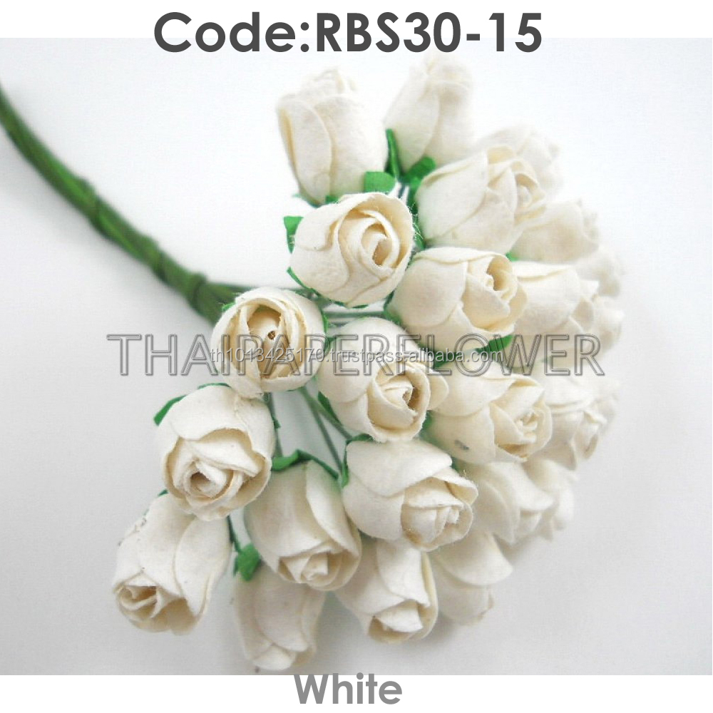 White Small Semi Open Rosebuds Handmade Mulberry Paper Flower, Wedding Party, Scrap-booking Crafts RBS30